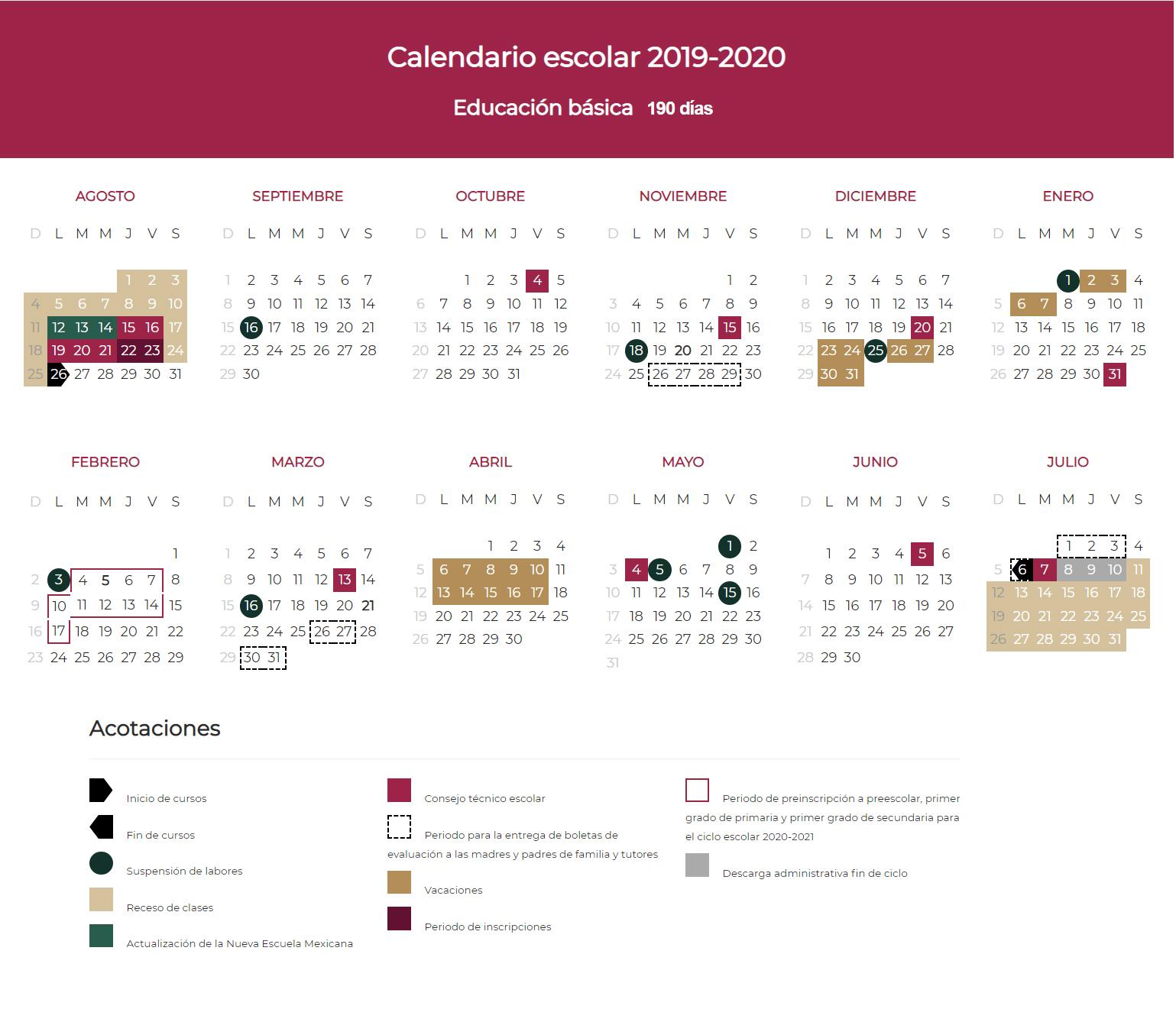 calendario escolar 190 dias